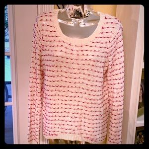 Women's white and pink long sleeve woven sweater